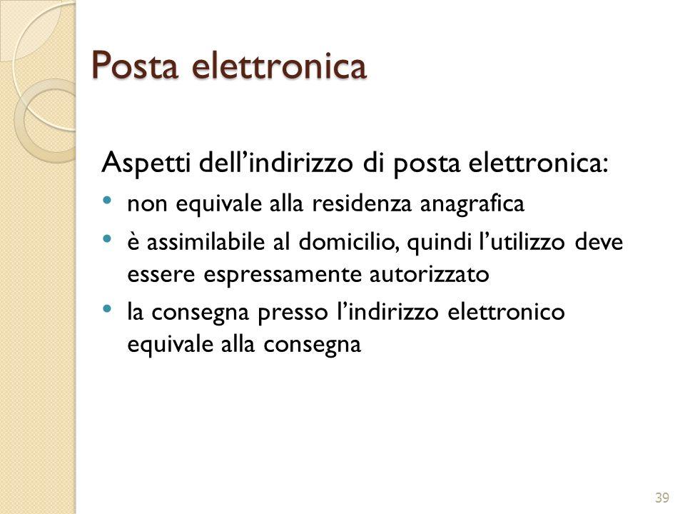 Posta elettronica Aspetti dell'indirizzo di posta elettronica: