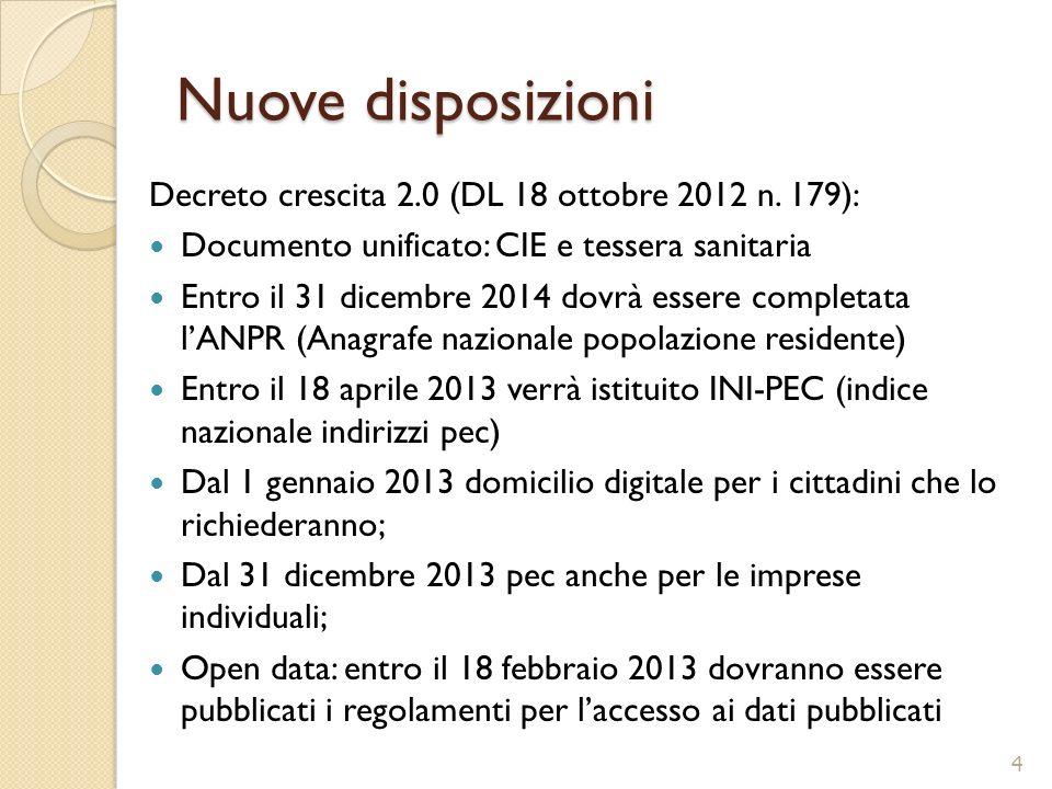 Nuove disposizioni Decreto crescita 2.0 (DL 18 ottobre 2012 n. 179):