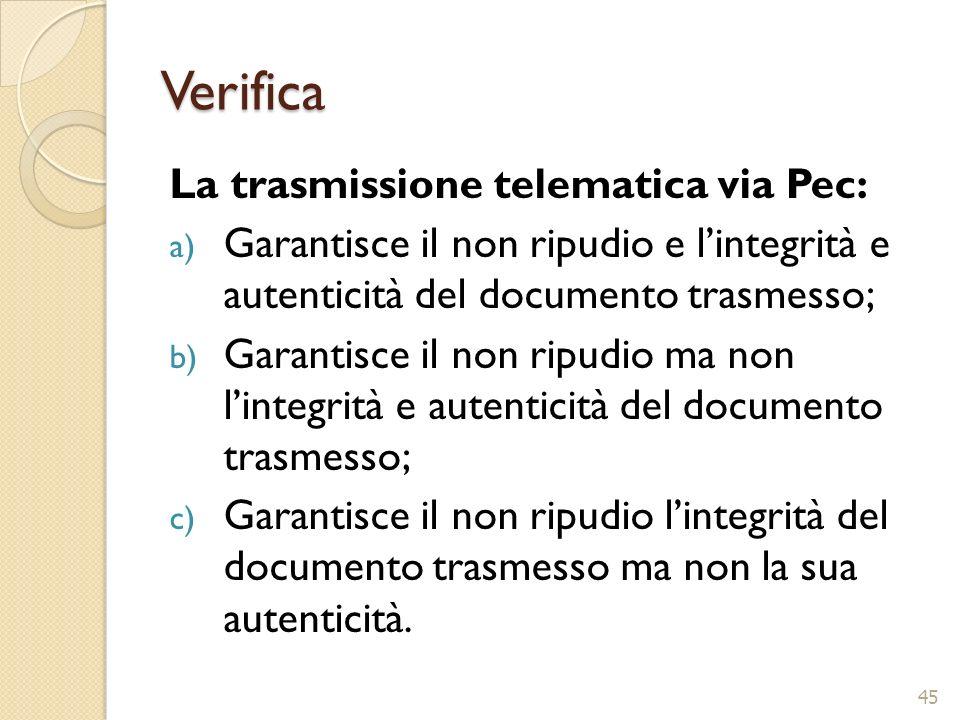 Verifica La trasmissione telematica via Pec: