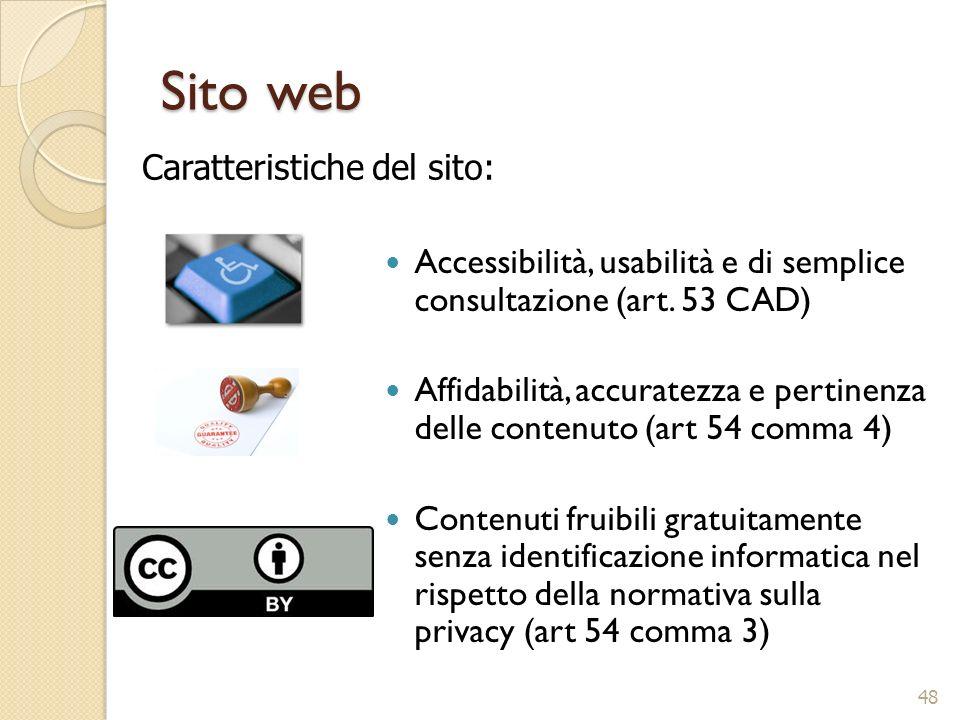 Sito web Caratteristiche del sito: