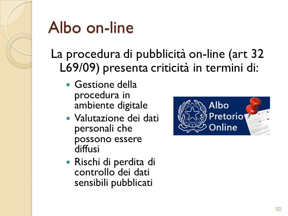 Albo on-line La procedura di pubblicità on-line (art 32 L69/09) presenta criticità in termini di: Gestione della procedura in ambiente digitale.