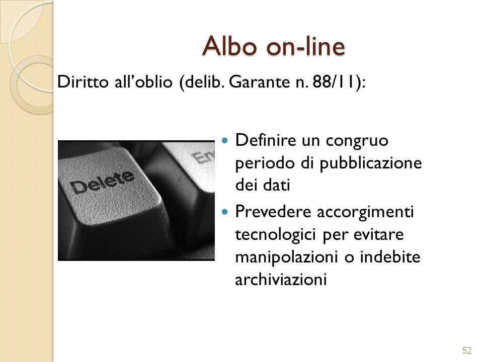 Albo on-line Diritto all'oblio (delib. Garante n. 88/11):