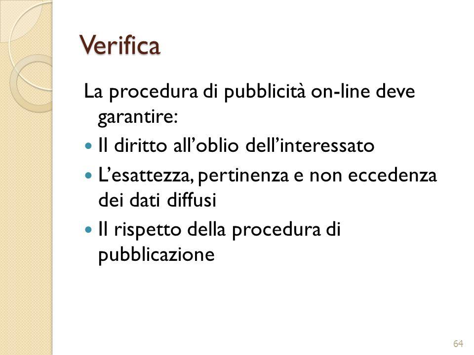 Verifica La procedura di pubblicità on-line deve garantire: