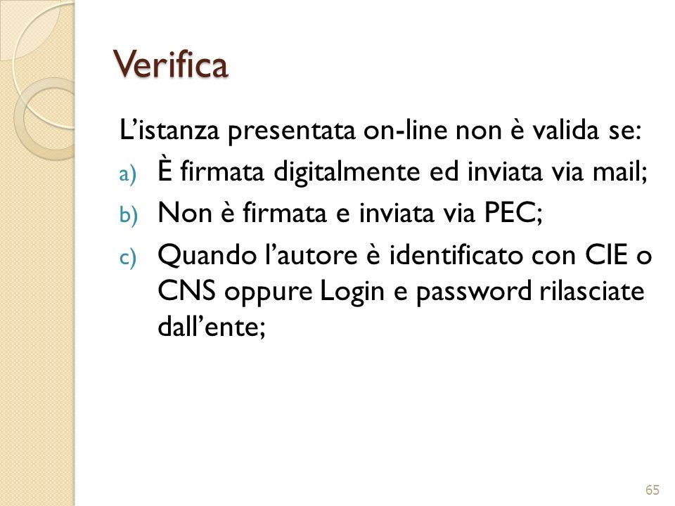 Verifica L'istanza presentata on-line non è valida se: