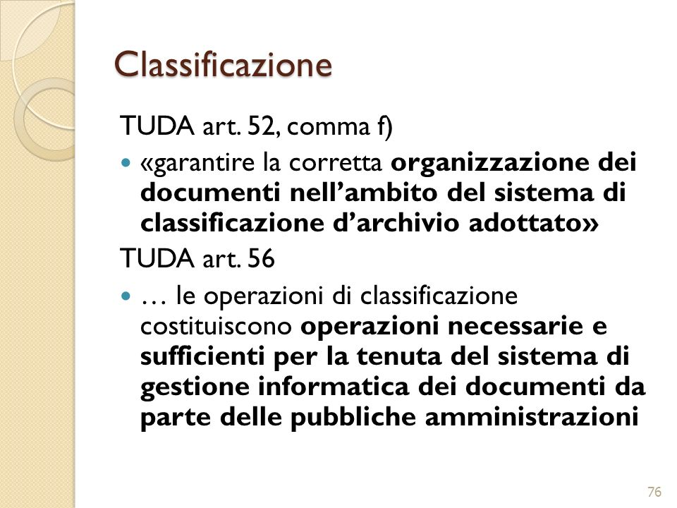 Classificazione TUDA art. 52, comma f)