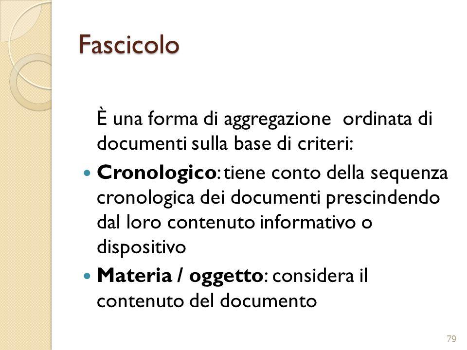 Fascicolo È una forma di aggregazione ordinata di documenti sulla base di criteri: