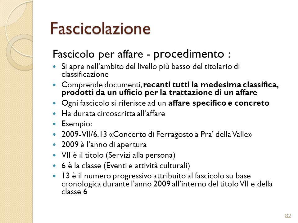 Fascicolazione Fascicolo per affare - procedimento :