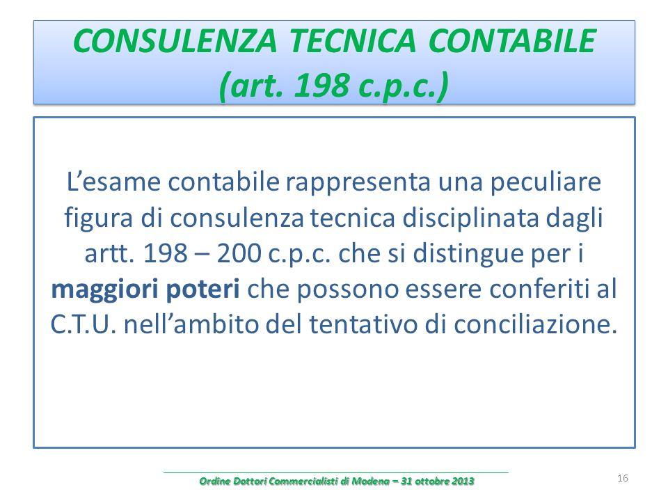 CONSULENZA TECNICA CONTABILE (art. 198 c.p.c.)