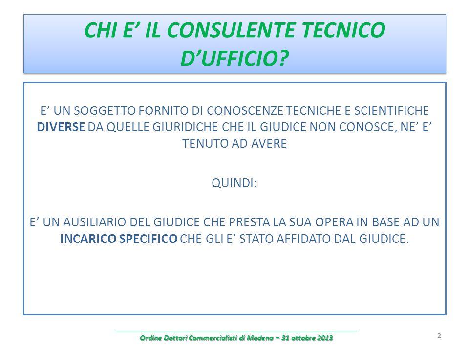 CHI E' IL CONSULENTE TECNICO D'UFFICIO