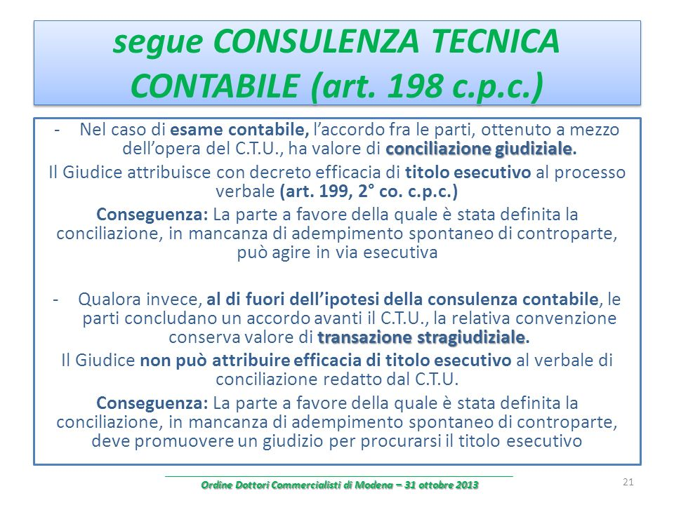 segue CONSULENZA TECNICA CONTABILE (art. 198 c.p.c.)