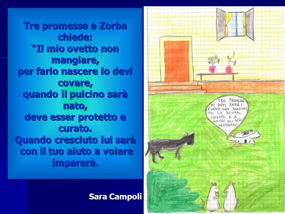Tre promesse a Zorba chiede: Il mio ovetto non mangiare, per farlo nascere lo devi covare, quando il pulcino sarà nato, deve esser protetto e curato. Quando cresciuto lui sarà con il tuo aiuto a volare imparerà.