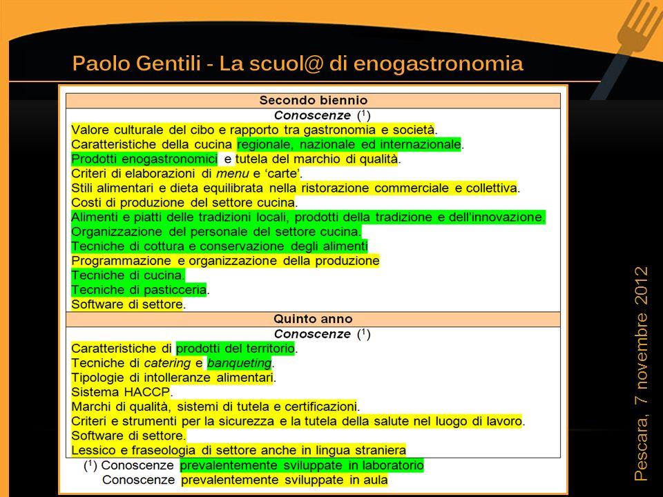 Quinto anno Ore in laboratorio Ore in aula 2 Pescara, 7 novembre 2012
