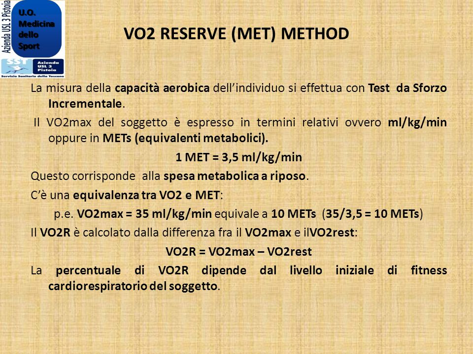 VO2 RESERVE (MET) METHOD