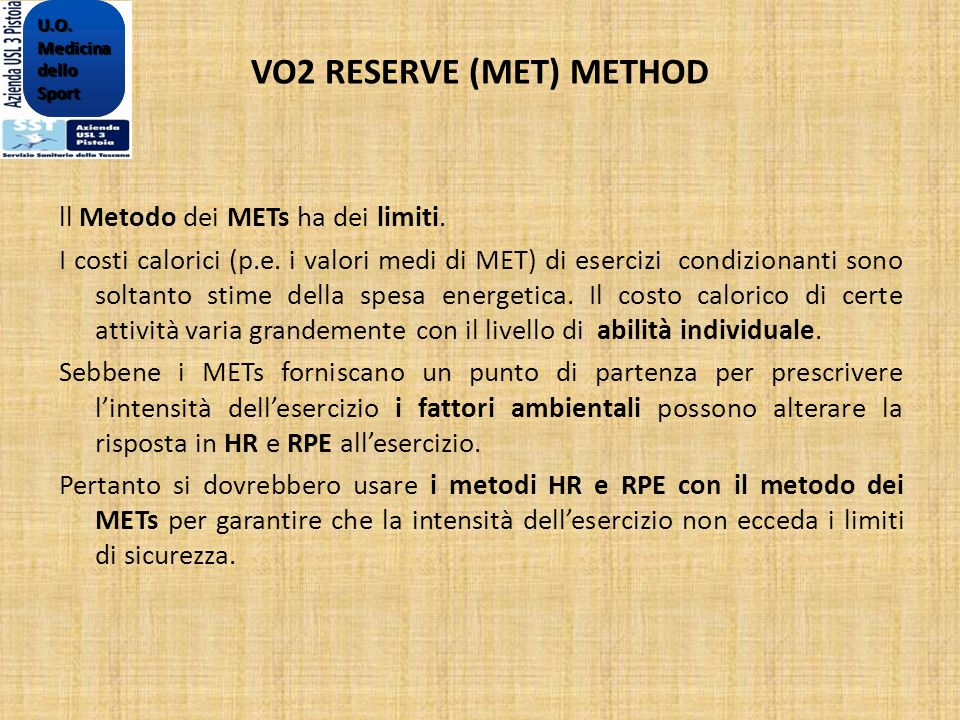 VO2 RESERVE (MET) METHOD