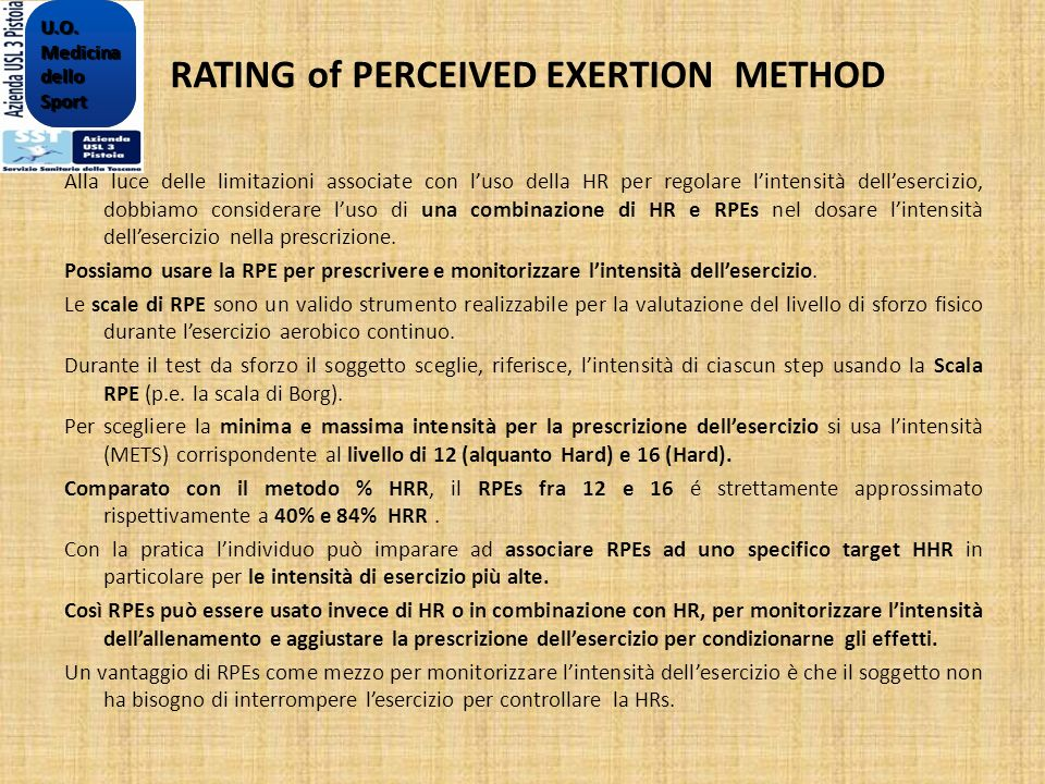 RATING of PERCEIVED EXERTION METHOD
