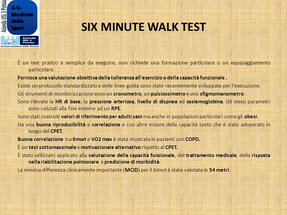 SIX MINUTE WALK TEST U.O. Medicina dello Sport
