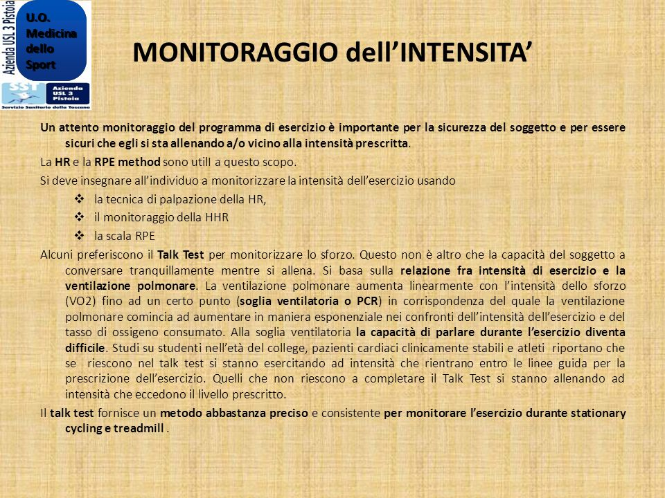 MONITORAGGIO dell'INTENSITA'