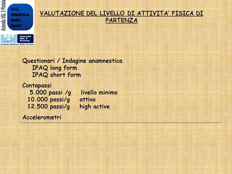 VALUTAZIONE DEL LIVELLO DI ATTIVITA' FISICA DI PARTENZA