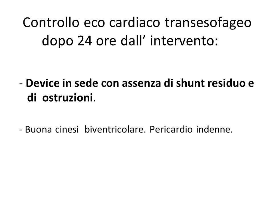 Controllo eco cardiaco transesofageo dopo 24 ore dall' intervento: