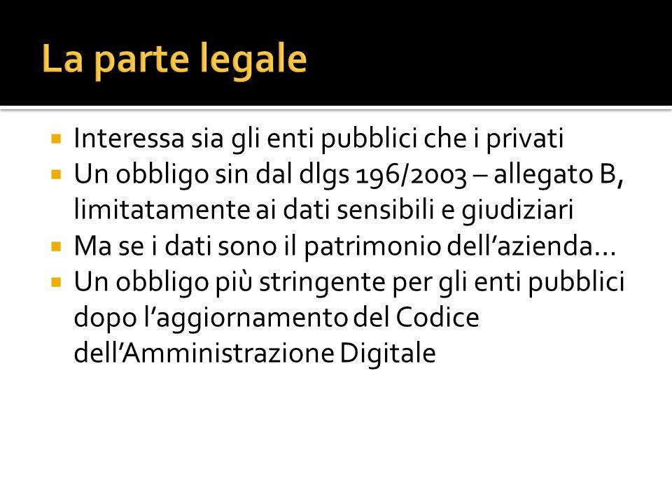 La parte legale Interessa sia gli enti pubblici che i privati