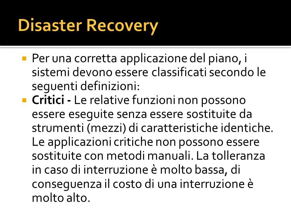 Disaster Recovery Per una corretta applicazione del piano, i sistemi devono essere classificati secondo le seguenti definizioni: