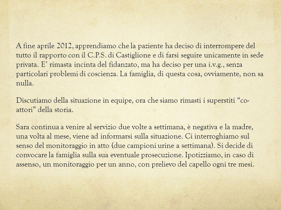 A fine aprile 2012, apprendiamo che la paziente ha deciso di interrompere del tutto il rapporto con il C.P.S.