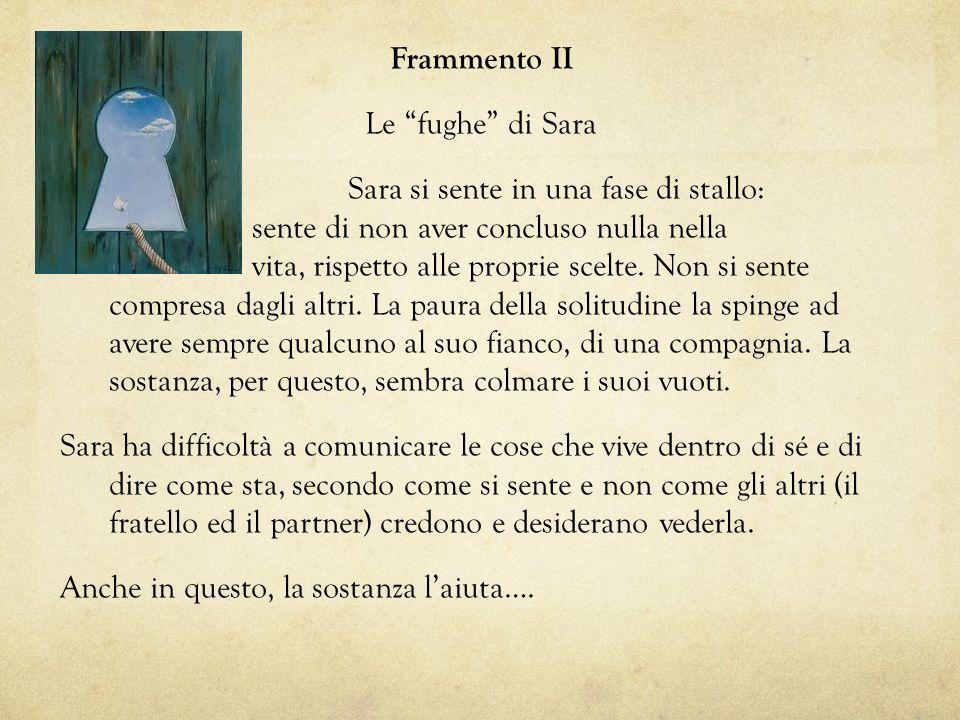 Frammento II Le fughe di Sara Sara si sente in una fase di stallo: sente di non aver concluso nulla nella vita, rispetto alle proprie scelte.