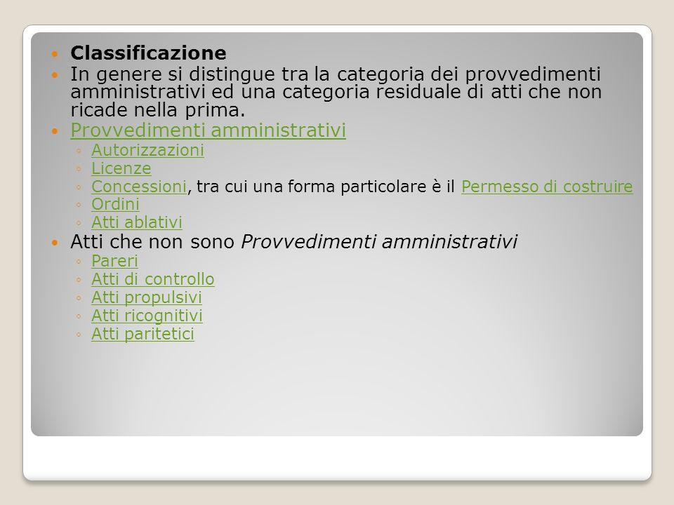 Provvedimenti amministrativi