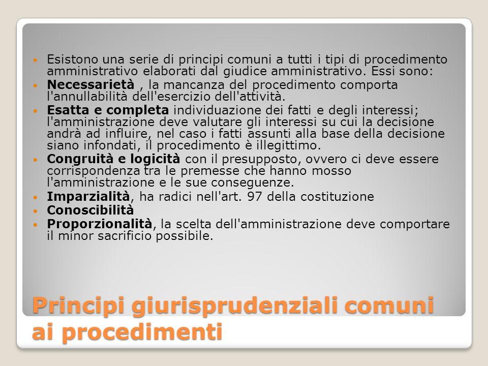 Principi giurisprudenziali comuni ai procedimenti