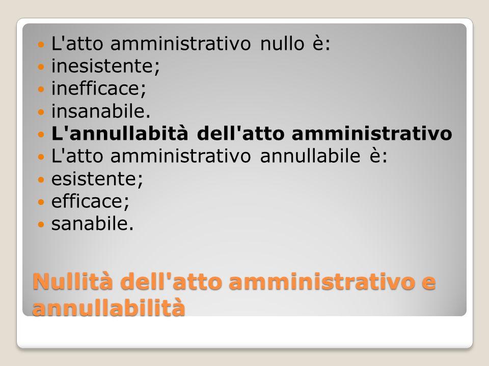 Nullità dell atto amministrativo e annullabilità