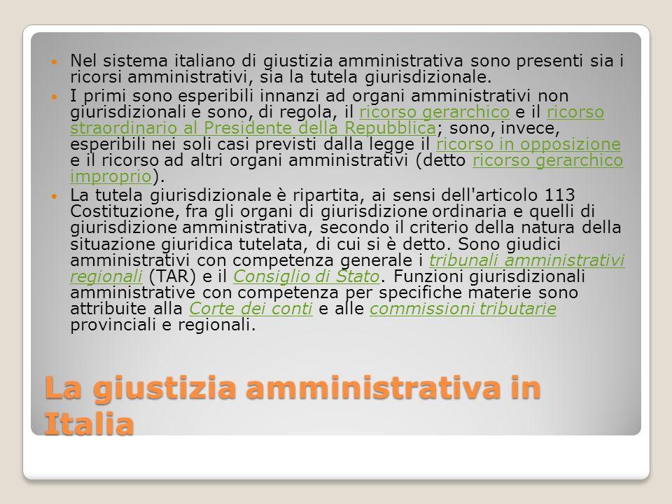 La giustizia amministrativa in Italia