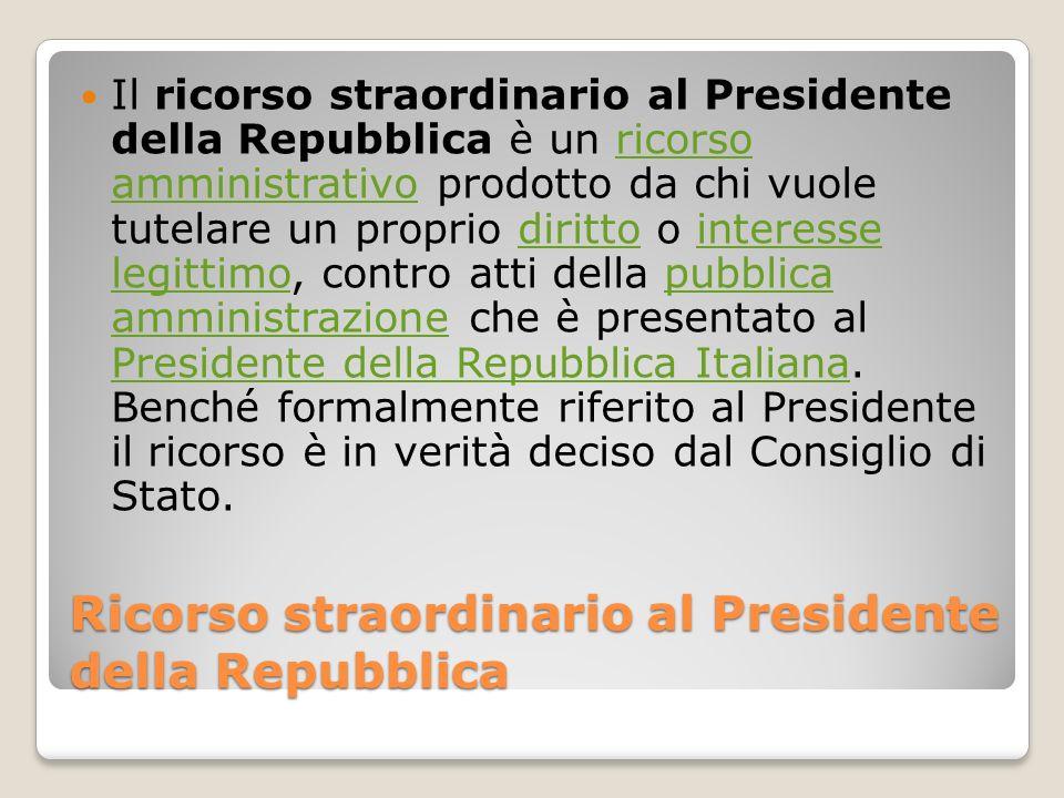 Ricorso straordinario al Presidente della Repubblica