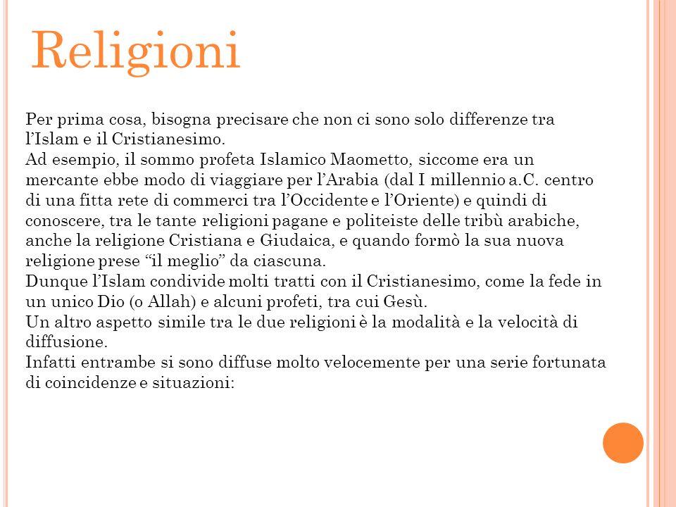 Religioni Per prima cosa, bisogna precisare che non ci sono solo differenze tra l'Islam e il Cristianesimo.