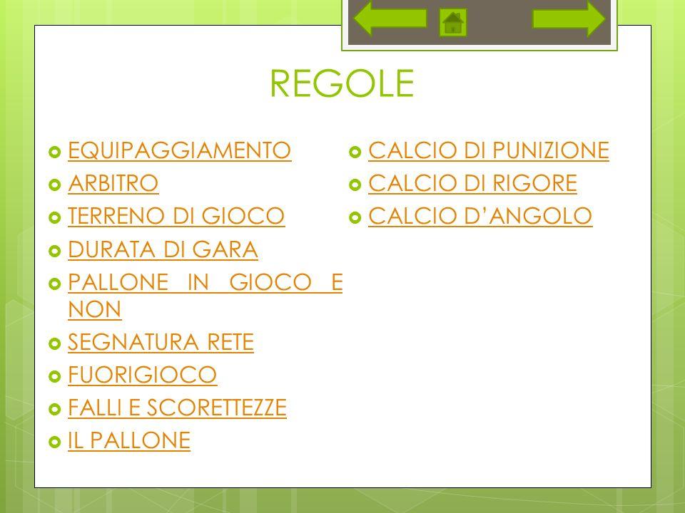 REGOLE EQUIPAGGIAMENTO CALCIO DI PUNIZIONE ARBITRO CALCIO DI RIGORE