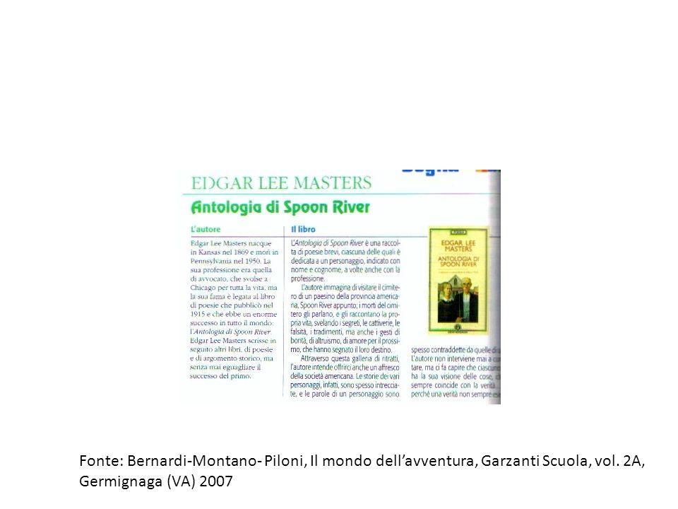 Fonte: Bernardi-Montano- Piloni, Il mondo dell'avventura, Garzanti Scuola, vol. 2A,