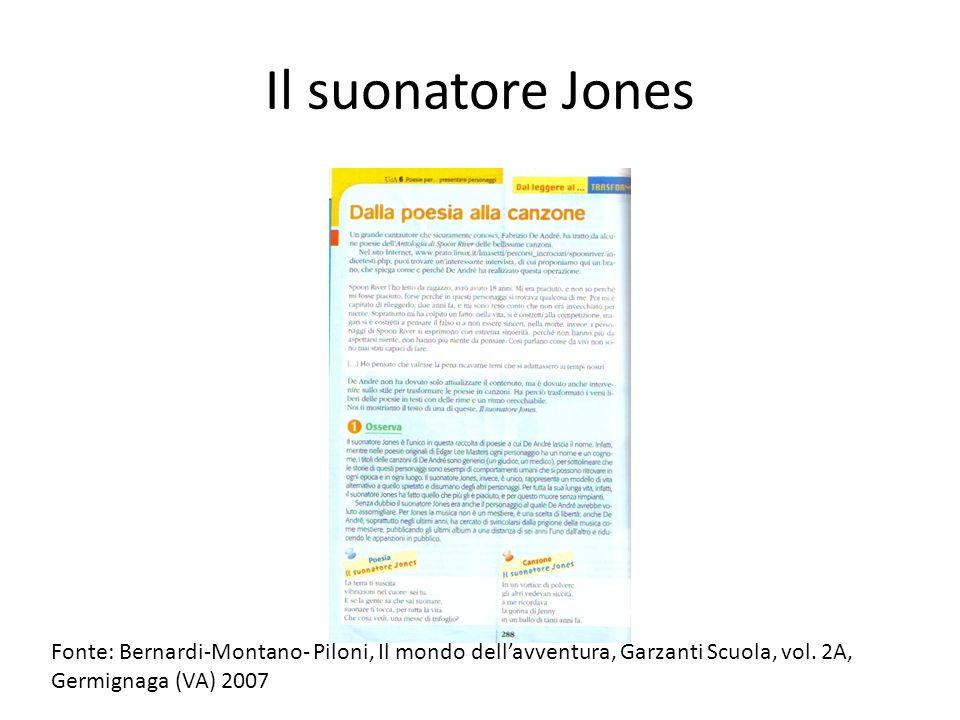 Il suonatore Jones Fonte: Bernardi-Montano- Piloni, Il mondo dell'avventura, Garzanti Scuola, vol. 2A,