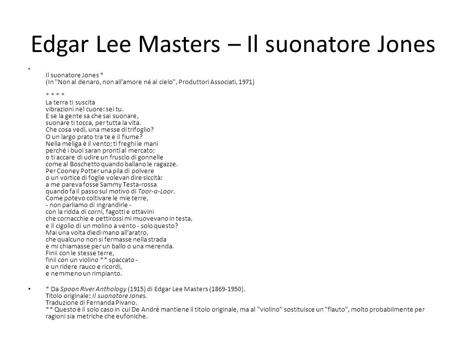 Edgar Lee Masters – Il suonatore Jones
