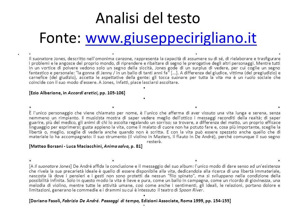 Analisi del testo Fonte: www.giuseppecirigliano.it