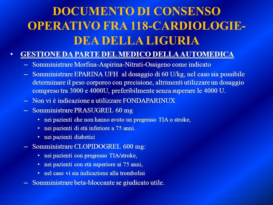 DOCUMENTO DI CONSENSO OPERATIVO FRA 118-CARDIOLOGIE-DEA DELLA LIGURIA