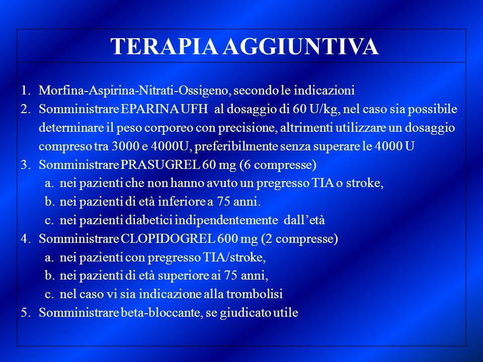 TERAPIA AGGIUNTIVA Morfina-Aspirina-Nitrati-Ossigeno, secondo le indicazioni.