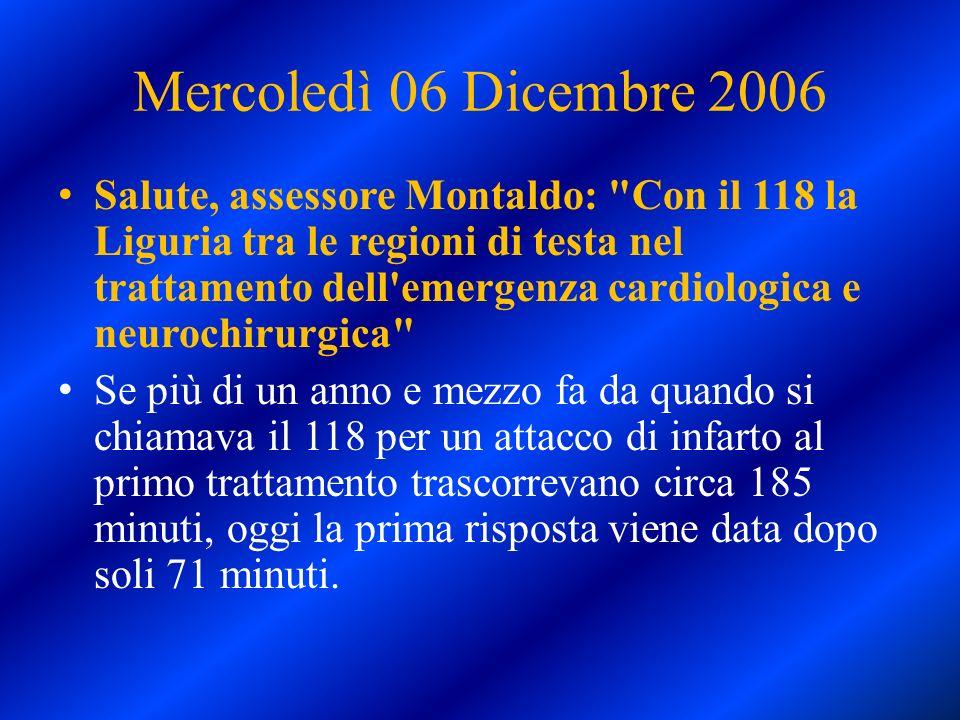 Mercoledì 06 Dicembre 2006