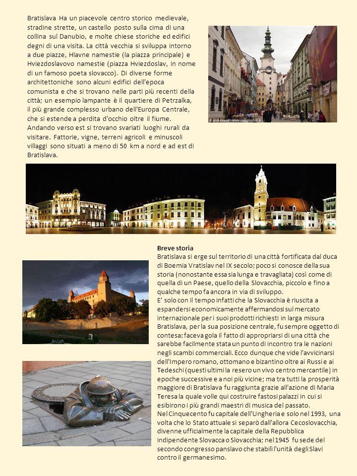 Bratislava Ha un piacevole centro storico medievale, stradine strette, un castello posto sulla cima di una collina sul Danubio, e molte chiese storiche ed edifici degni di una visita. La città vecchia si sviluppa intorno a due piazze, Hlavne namestie (la piazza principale) e Hviezdoslavovo namestie (piazza Hviezdoslav, in nome di un famoso poeta slovacco). Di diverse forme architettoniche sono alcuni edifici dell epoca comunista e che si trovano nelle parti più recenti della città; un esempio lampante è il quartiere di Petrzalka, il più grande complesso urbano dell Europa Centrale, che si estende a perdita d occhio oltre il fiume. Andando verso est si trovano svariati luoghi rurali da visitare. Fattorie, vigne, terreni agricoli e minuscoli villaggi sono situati a meno di 50 km a nord e ad est di Bratislava.