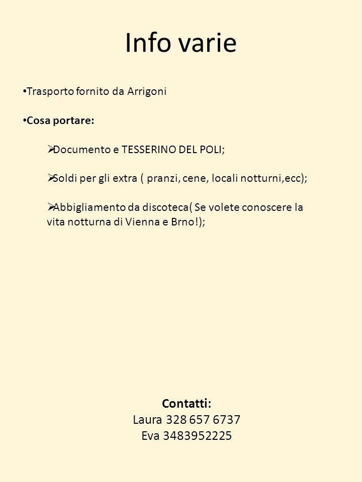 Info varie Contatti: Laura 328 657 6737 Eva 3483952225