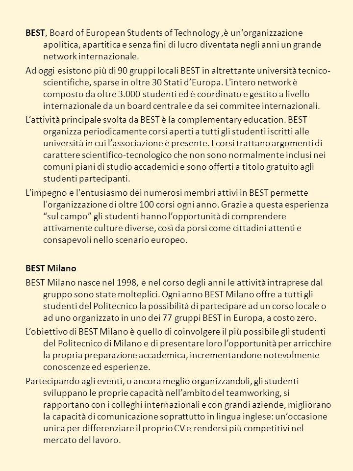 BEST, Board of European Students of Technology ,è un organizzazione apolitica, apartitica e senza fini di lucro diventata negli anni un grande network internazionale.