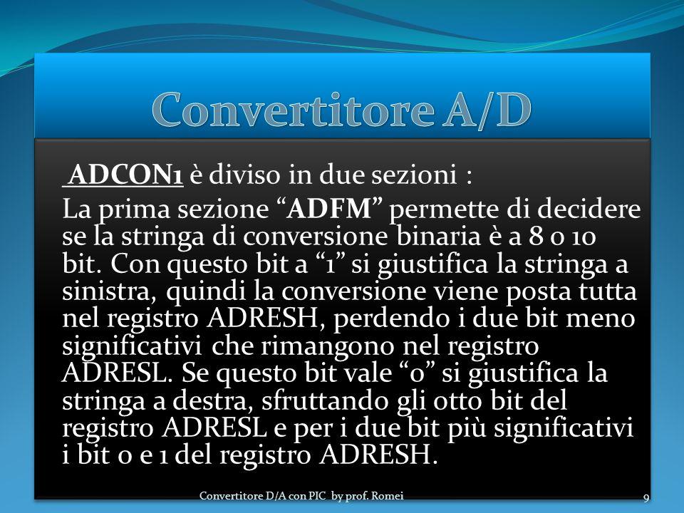Convertitore A/D ADCON1 è diviso in due sezioni :