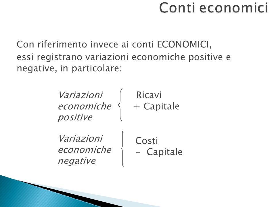 Conti economici Con riferimento invece ai conti ECONOMICI, essi registrano variazioni economiche positive e negative, in particolare: