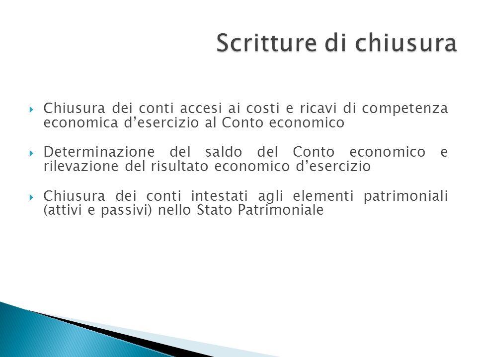 Scritture di chiusura Chiusura dei conti accesi ai costi e ricavi di competenza economica d'esercizio al Conto economico.