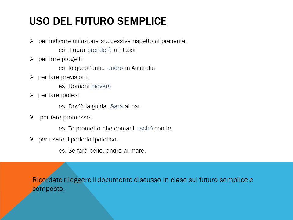 Uso del futuro semplice