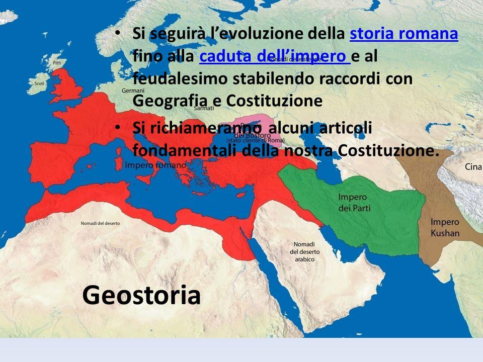 Si seguirà l'evoluzione della storia romana fino alla caduta dell'impero e al feudalesimo stabilendo raccordi con Geografia e Costituzione