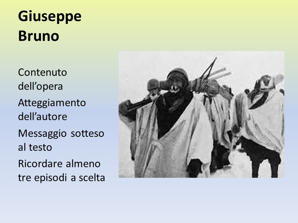 Giuseppe Bruno Contenuto dell'opera Atteggiamento dell'autore